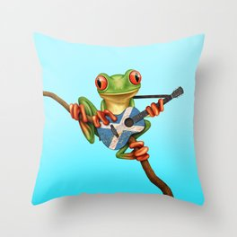 Tree Frog Playing Acoustic Guitar with Flag of Scotland Throw Pillow