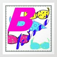bikini Art Prints featuring bikini by Mike van der Hoorn