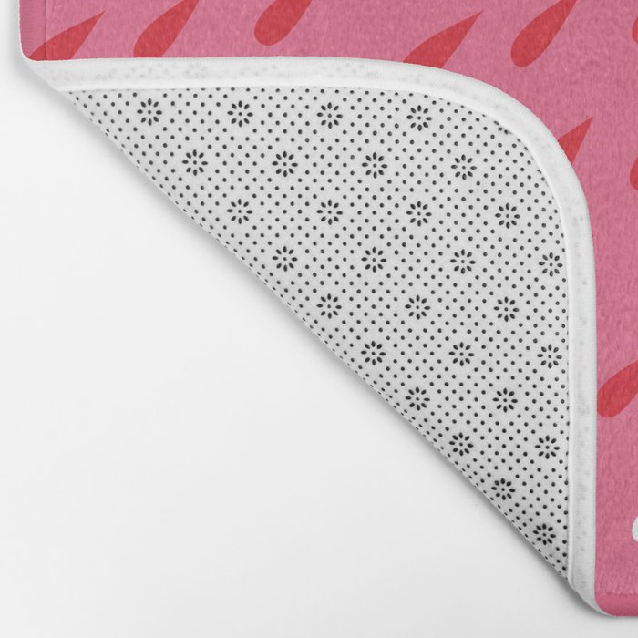 Red + Pink Droplets Bath Mat
