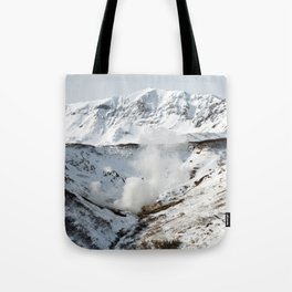 Geothermal valley, natural volcanic hot springs area on Kamchatka Peninsula Tote Bag
