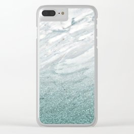Calacatta Verde glitter gradient Clear iPhone Case