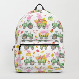 Watercolor Pigs On Tractors Farm Life Pattern Backpack