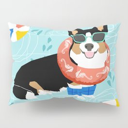 Tricolored Corgi Pool Party - cute corgi dog design pool party summer beach ball dog costume dogs Pillow Sham