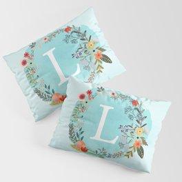 Personalized Monogram Initial Letter L Blue Watercolor Flower Wreath Artwork Pillow Sham