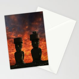 Five Moai statues with hat at sunset in the Easter Island. Stationery Cards
