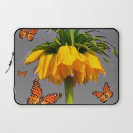 ORANGE MONARCH BUTTERFLIES CROWN IMPERIAL FLOWER Laptop Sleeve