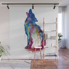 Howling Wolf Watercolor Silhouette Wall Mural
