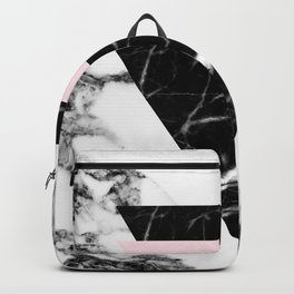 marble pink triangles Backpack
