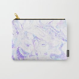 Pastel Marble Purple Blue Glitter Carry-All Pouch