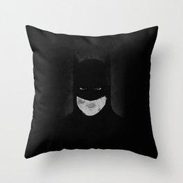 Bat Man black and white Throw Pillow
