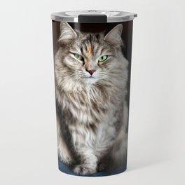 Siberian cat. Posing like a ballet dancer. Travel Mug
