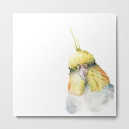 cockatiel in watercolor Metal Print