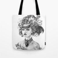 fleur de lis Tote Bags featuring Fleur De Lis by April Alayne