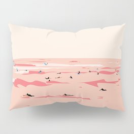 Sunset Tiny Surfers in Lima Illustrated Pillow Sham