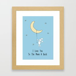 I Love You To The Moon And Back - Blue Framed Art Print