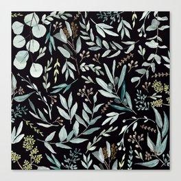 Black Eucalyptus Pattern Canvas Print