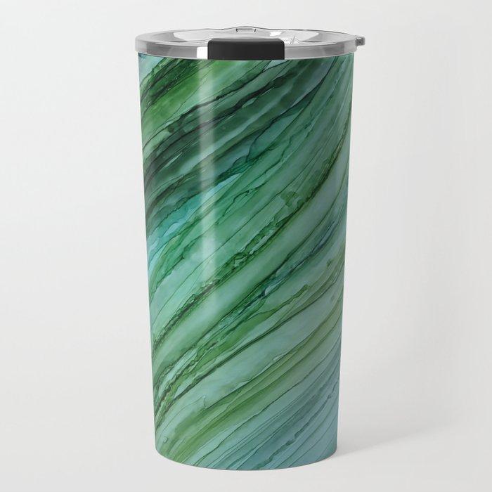 Green Agate Geode Slice Travel Mug