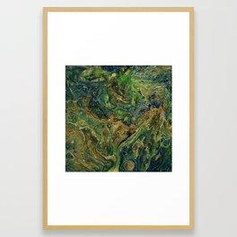 Blue Green Gold Copper Lava Flow Framed Art Print