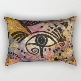 Eye of Horus - Mixed Media Abstract Rectangular Pillow