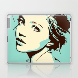 Blue Girl Looking Over Shoulder Portrait Digital Art Vector Illustration Laptop & iPad Skin