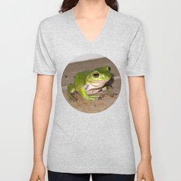 A beautiful green tree frog sitting on tiles Unisex V-Neck