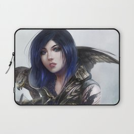 Fantasy archer hunter girl with hawk bird Laptop Sleeve