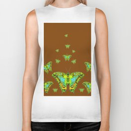 GREEN-YELLOW MOTHS ON COFFEE BROWN Biker Tank