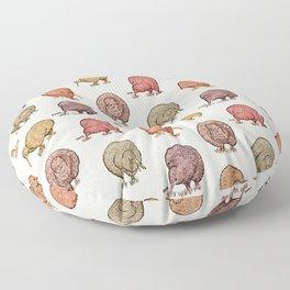 Hungry Kiwis – Warm Earth Tones Floor Pillow