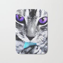 Purple eyes Cat Bath Mat