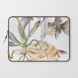 Sea shell Nature Illustration Black Goldfish Orchids Laptop Sleeve