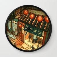 ramen Wall Clocks featuring Ramen in the Alley by Kerri Aitken
