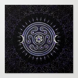 Hecate Wheel Ornament with Amethyst and Silver Canvas Print