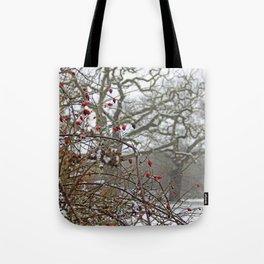 Winter berries and snow Tote Bag