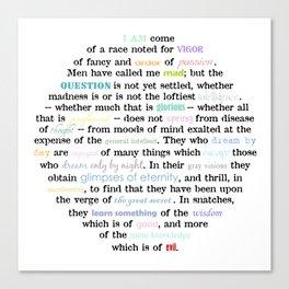 Poe Quote in Rainbow & Black Canvas Print