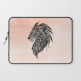 Peach Watercolor Lion Laptop Sleeve