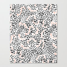 Helena - black white rose quartz abstract squiggle dot mark making painting brushstrokes minimal  Canvas Print