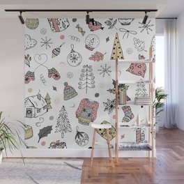 Christmas pattern, winter holiday background. Wall Mural