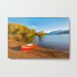Glenorchy Wharf and pier at golden hour in New Zealand Metal Print