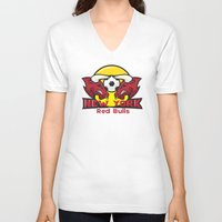 chicago bulls V-neck T-shirts featuring Red Bulls by Mountain Top Designs