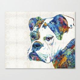 Colorful English Bulldog Art By Sharon Cummings Canvas Print