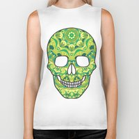 sugar skull Biker Tanks featuring Sugar skull by Julia Badeeva