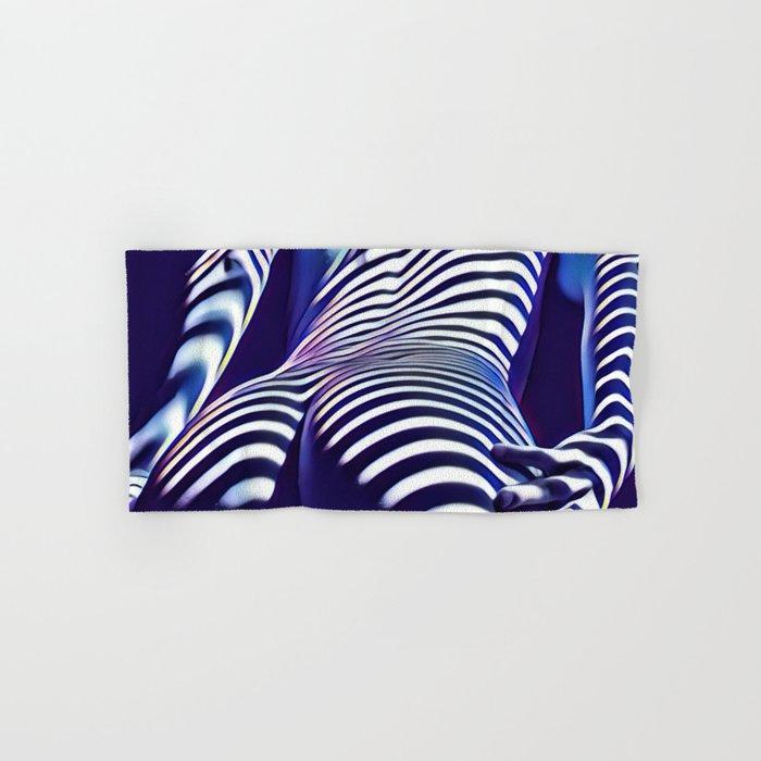 2020s-AK Sensual Blue Striped Woman from Behind Hand & Bath Towel
