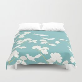 Birds and Branches Botanical Turquoise Duvet Cover