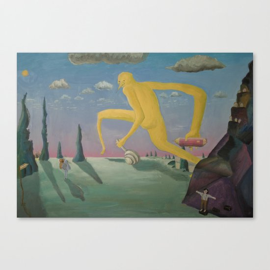 Yellow guy looking for lost girl Canvas Print