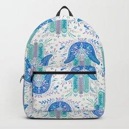 Hamsa Hand – Blue & Turquoise Palette Backpack