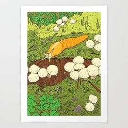 Banana Slug & Mushrooms Art Print