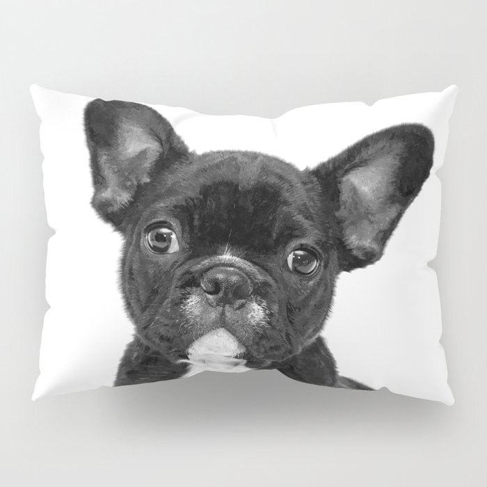 Black and White French Bulldog Pillow Sham