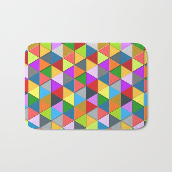 Colorful triangle galore geometric pattern Bath Mat