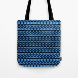Dividers 02 in Blue over Black Tote Bag