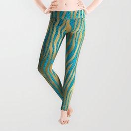 Beautiful Teal & Gold Animal Print Pattern Leggings